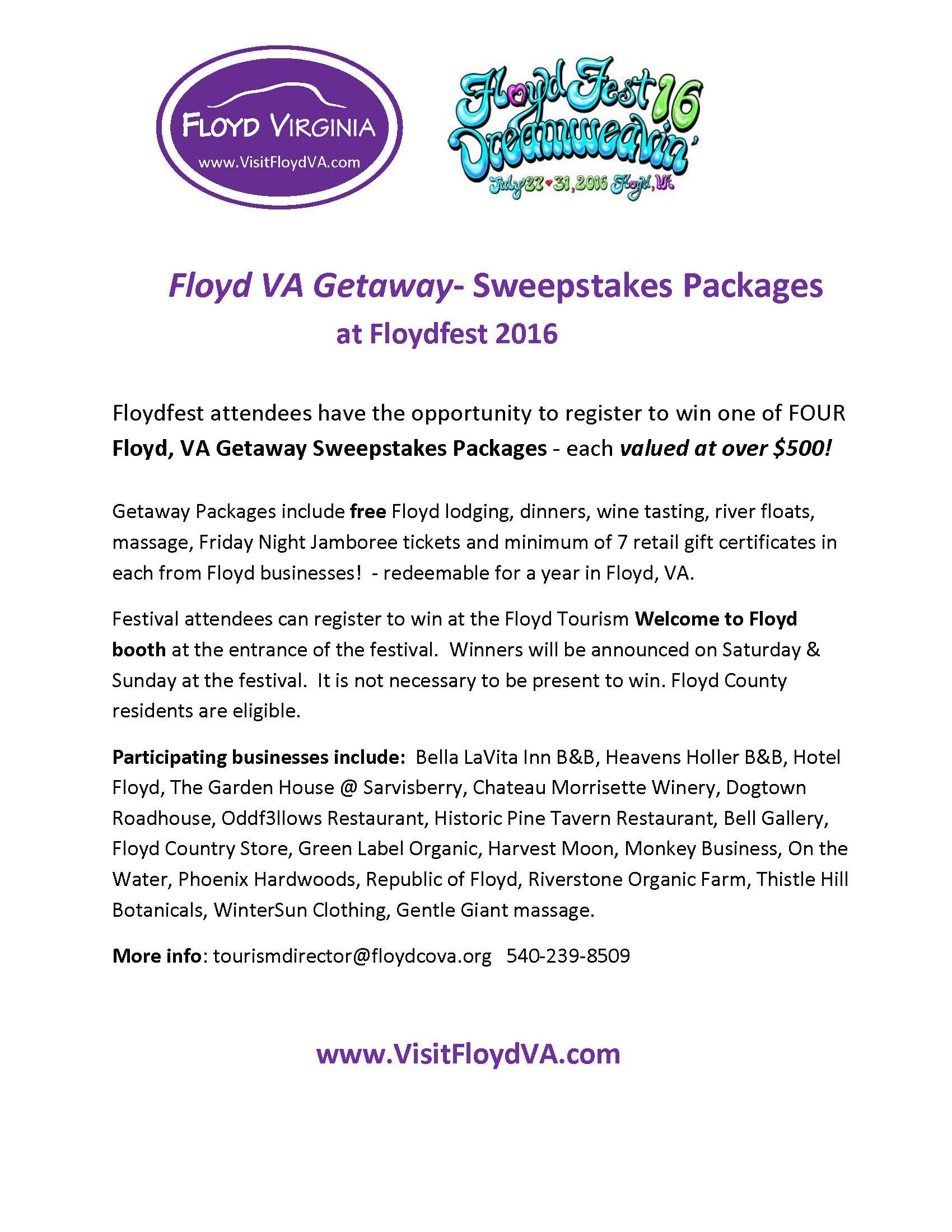 Getaway Packages PR Floydfest 2016