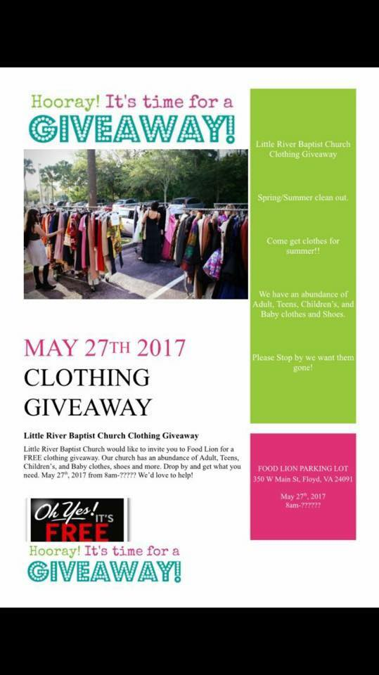 Visit Floyd Virginia Clothing Give Away By Little River Baptist Church