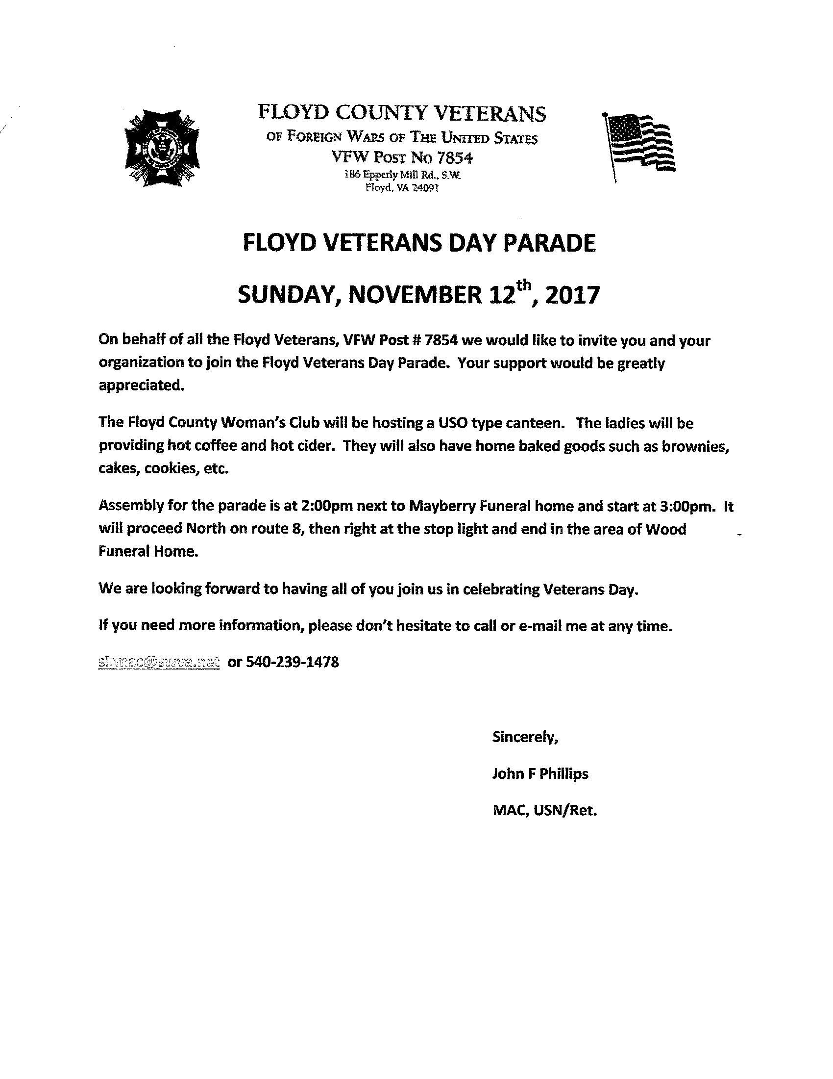Visit Floyd Virginia | Floyd Veterans Day Parade
